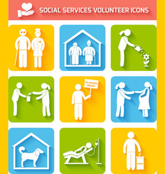 Volunteer icons set flat vector