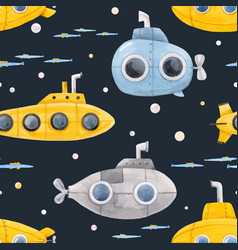 watercolor underwater submarine pattern vector image