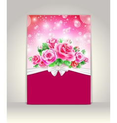 Wedding card or invitation with roses vector