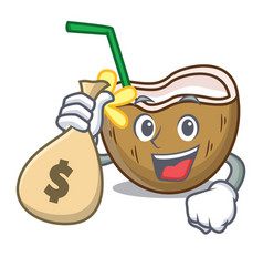 with money bag cocktail coconut character cartoon vector image