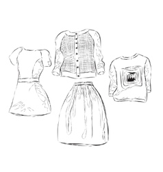 Women clothes sketch vector image
