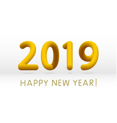yellow 2019 symbol happy new year isolated on vector image