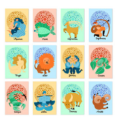 Zodiac signs vertical cards vector