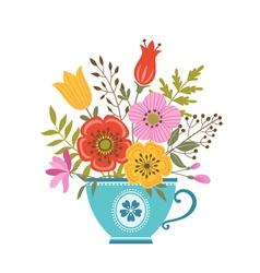 Flower teacup vector image
