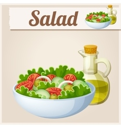 Fresh salad with olive oil Detailed Icon vector image