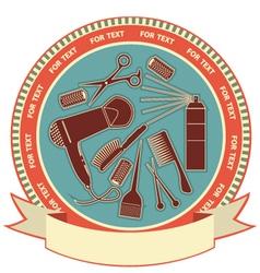 Hairdressing salon elements on label background vector image