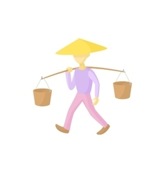Man in a conical hat carries buckets icon vector image vector image