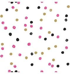 Seamless ink brush painted polka dot pattern vector image