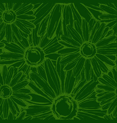 seamless pattern contour field chamomiles vector image vector image