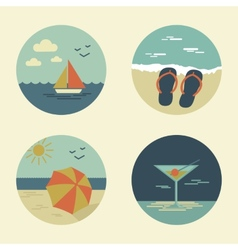 summer icons retro vector image