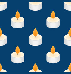 tea candle icon floating candle seamless pattern vector image