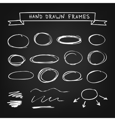Chalk hand drawn frames vector image