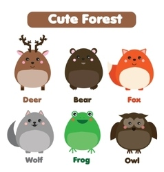 Cute forest animals wildlife set Children style vector image vector image