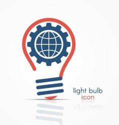 Light bulb idea icon with gear and globe vector