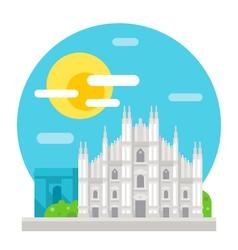 Milan cathedral flat design landmark vector image