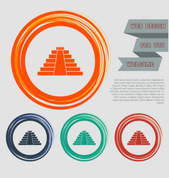 pyramid icon on the red blue green orange buttons vector image vector image