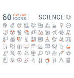Set flat line icons science vector