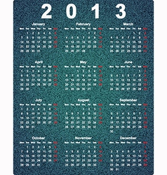 Stylish calendar for 2013 on denim background vector image