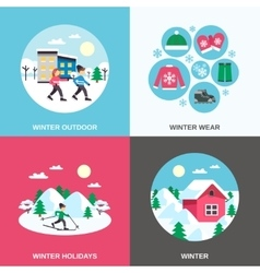 Winter 4 Flat Icons Square Banner vector image