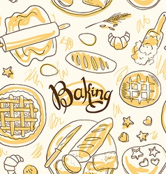 beautiful hand-draw simpless pattern baking vector image