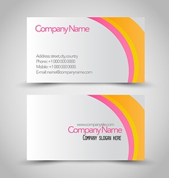 Business card set template pink orange and white vector
