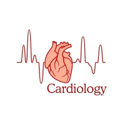 Cardiology concept with an ECG and heart vector image