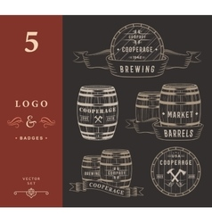 Set Wooden Casks Badges and Cooperage Logo vector image vector image