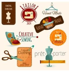 Sewing Emblems Set vector image