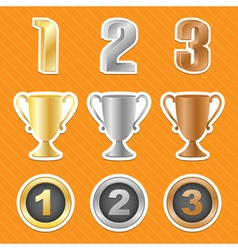 trophy cups stickers vector image