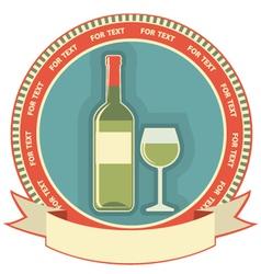 White wine bottle label symbol background vector image vector image