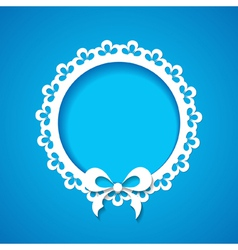 blue background with a lacy frame vector image vector image