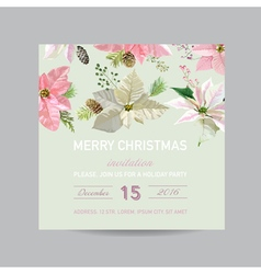 Christmas Invitation Card - in Watercolor Style vector image vector image