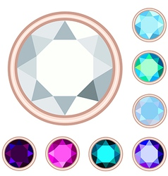 circle gemstone set vector image vector image