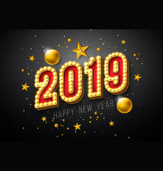 2019 happy new year with 3d light vector image