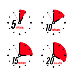 5 10 15 20 minutes clock icons isolated vector