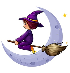 A broomstick with witch near the moon vector