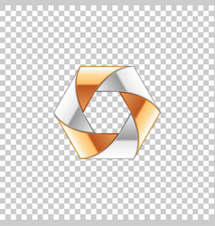 abstract metal shape with silver and gold elements vector image