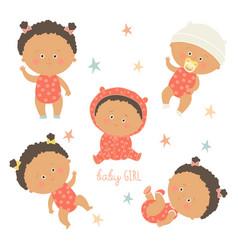 African baby set african american toddler boys vector