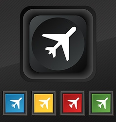 airplane icon symbol Set of five colorful stylish vector image