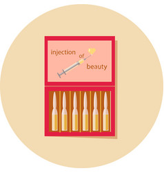 Ampoule of beauty in a red box vector