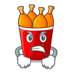 angry fried chicken in big cartoon bucket box vector image