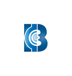 B alphabet music play logo design concept vector