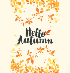 banner with inscription hello autumn and leaves vector image