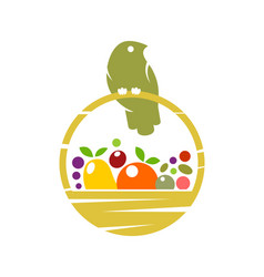 bird on basket with fruit and vegetables vector image