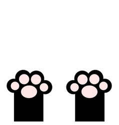 Black cat paw print leg foot with pink pads cute vector