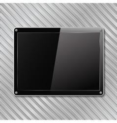 black plate on metal background vector image