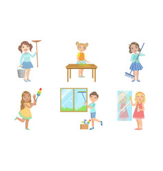 Boys and girls doing different housework chores vector