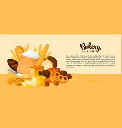 Bread banner for bakery and pastry shop template vector