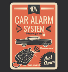 Car alarm system vintage poster with key and lock vector