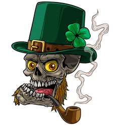 cartoon leprechaun skull with whiskers and pipe vector image
